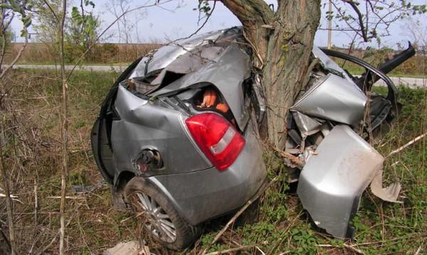 22-годишна нацели дърво с колата си. Пожарната ряза ламарини, за да я извади!