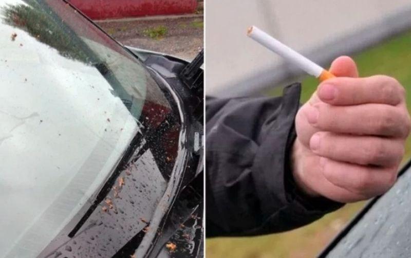 Една цигара и... предното стъкло на колата светва!