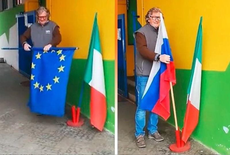 Италианци заменят флага на ЕС с флага на Русия! Защо ли? ВИДЕО