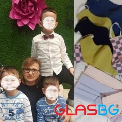 Баба на 5 деца от Пловдив шие маски безплатно