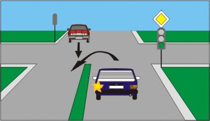 Кой от двата автомобила трябва да премине пръв?