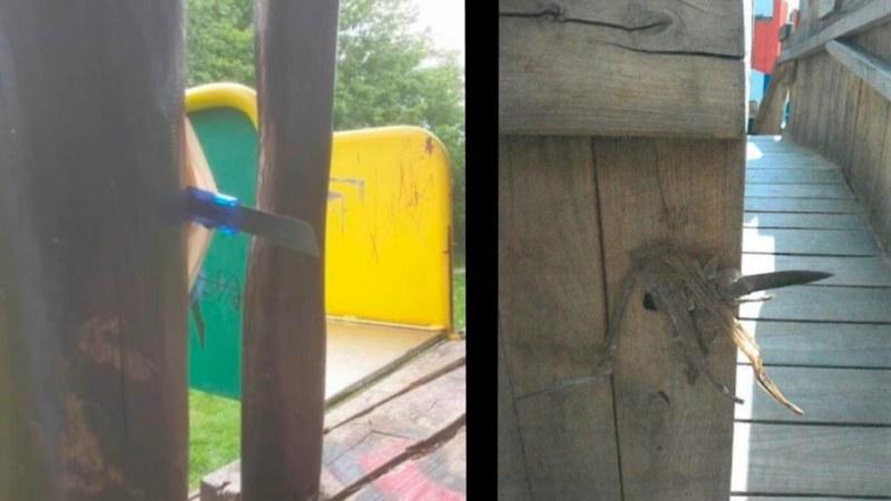 Неизвестен крие ножове по детските площадки