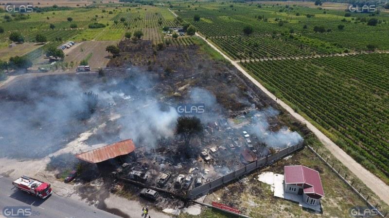 15 коли са погълнати от пожара край Пловдив ВИДЕО