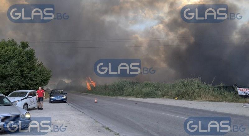 Голям пожар край Пловдив! Гори автоморга СНИМКИ+ВИДЕО