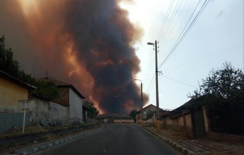 Голям пожар избухна в Пловдивско, евакуират хората ВИДЕО+СНИМКИ