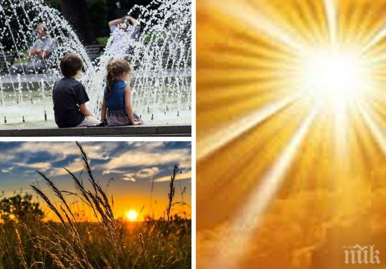 Слънчево и горещо. В източните и планинските райони краткотрайно заоблачаване след обяд (КАРТА)